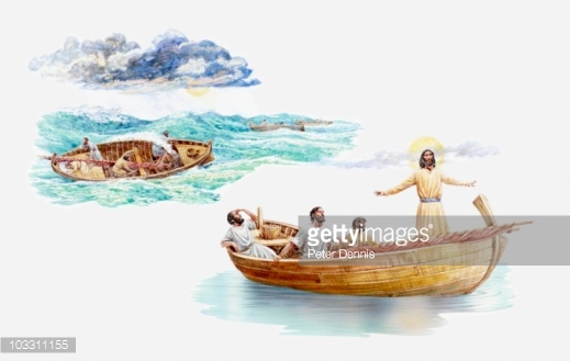 Jesus row boat clipart jpg black and white download Illustration Of Disciples Peter James And John Kneeling In Awe ... jpg black and white download