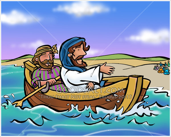 Jesus row boat clipart vector library Peter and Jesus in a Fishing Boat vector library