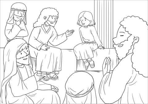 Jesus teaching in the temple clipart black and white jpg freeuse stock The Boy Jesus at the Temple (Luke 2:40-52) coloring page | Free ... jpg freeuse stock