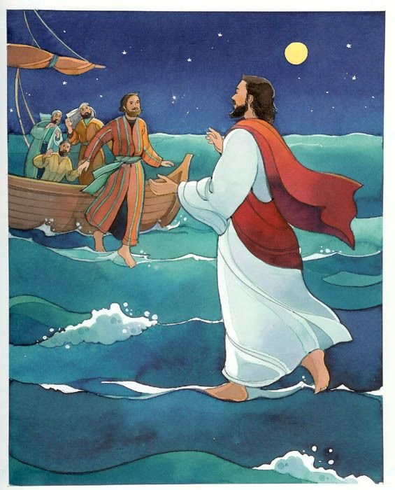 Walking on water clipart free clip transparent library Drawing image of Jesus Christ walking on the sea water towards Peter ... clip transparent library