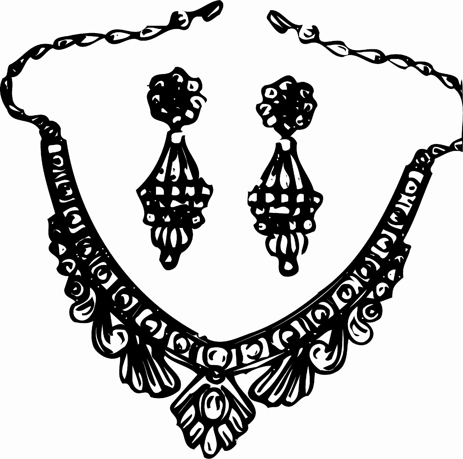 Jewelry black and white clipart clip art freeuse library Necklace black and white clipart Awesome Jewellery Black And White ... clip art freeuse library