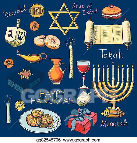 Jewish holiday symbols clipart clip black and white EPS Illustration - Hanukkah traditional jewish holiday symbols set ... clip black and white