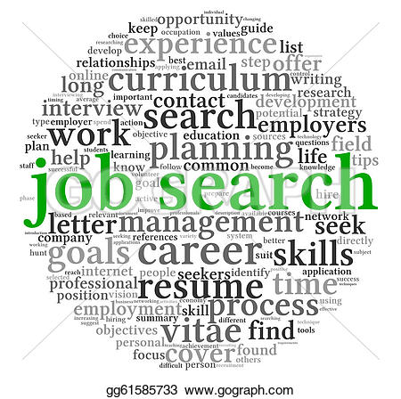 Job search clipart graphic black and white Clipart - Job search concept in word tag cloud. Stock Illustration ... graphic black and white