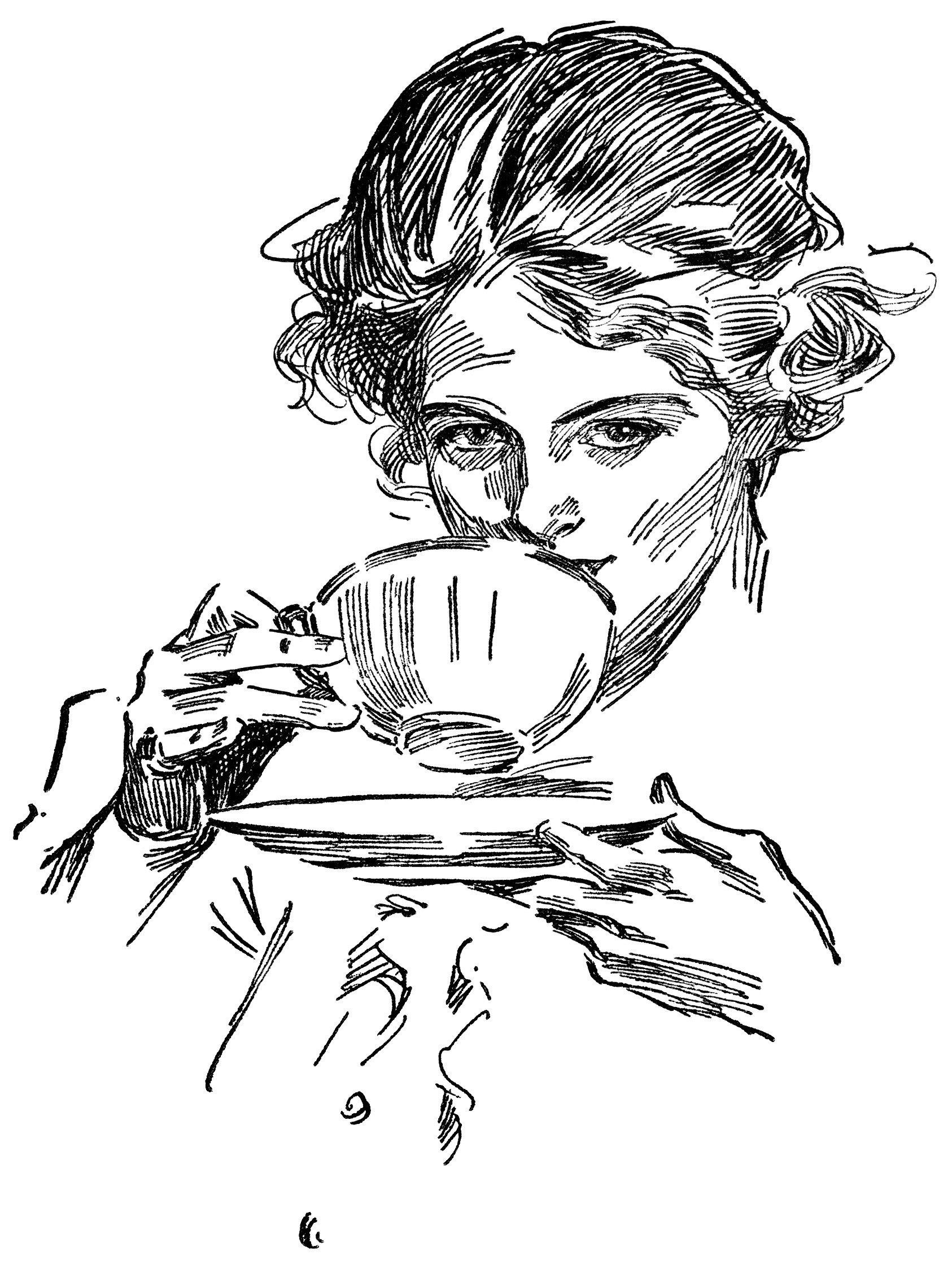 Vintage clipart tea graphic freeuse library lady drinking tea, tea time graphics, vintage lady clip art ... graphic freeuse library