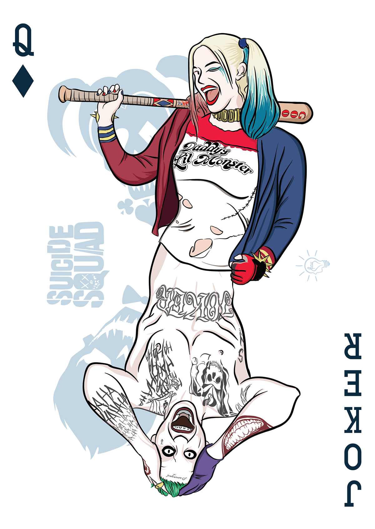 Joker and harley clipart jpg royalty free download Suicide Squad - The Joker & Harley Quinn Playing Card on Behance jpg royalty free download