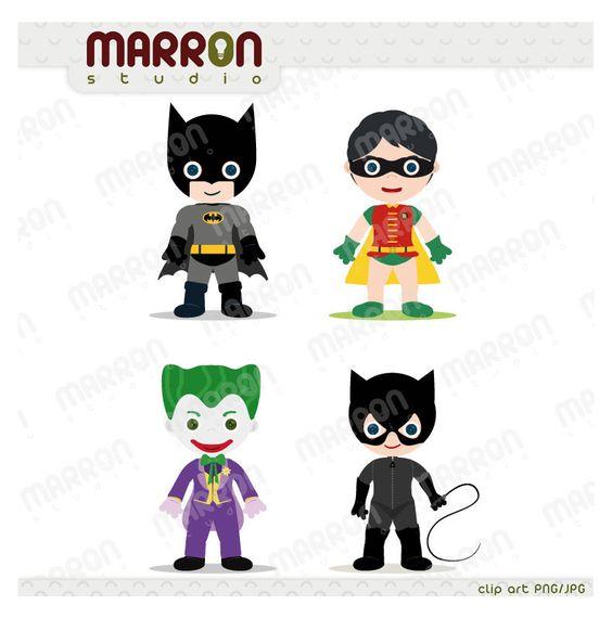 Joker clipart batman clip black and white library Superhero Inspired set Batman, Robin, Joker and Catwoman Clip Art ... clip black and white library