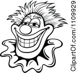 Joker clipart black and white clip art royalty free Clipart Black And White Friendly Happy Clown With Brown Eyes ... clip art royalty free