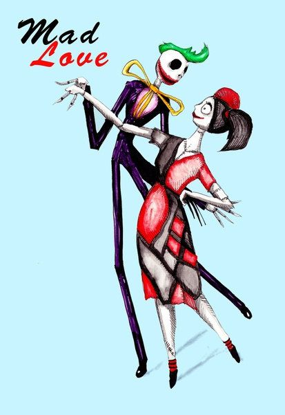 Joker harley quinn mad love clipart graphic library stock Mad Love Harley Quinn Joker Jack And Sally Pen & Ink Acrylic ... graphic library stock