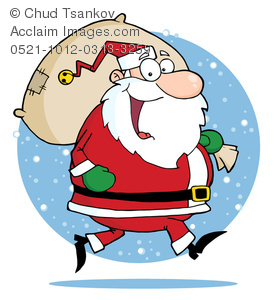 Jolly clipart vector stock Clipart Image of A Jolly Saint Nick Walking In Snow Carrying a Bag ... vector stock