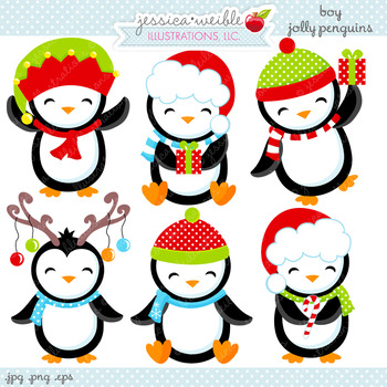 Jolly clipart clipart freeuse stock Boy Jolly Penguins - Cute Digital Clipart, Christmas Graphics clipart freeuse stock