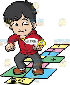 Jolly clipart image black and white A Jolly Boy Playing Hopscotch image black and white