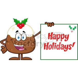 Jolly clipart graphic transparent download royalty free rf clipart illustration jolly christmas pudding cartoon  character presenting a sign with a holly corner and text vector  illustration ... graphic transparent download