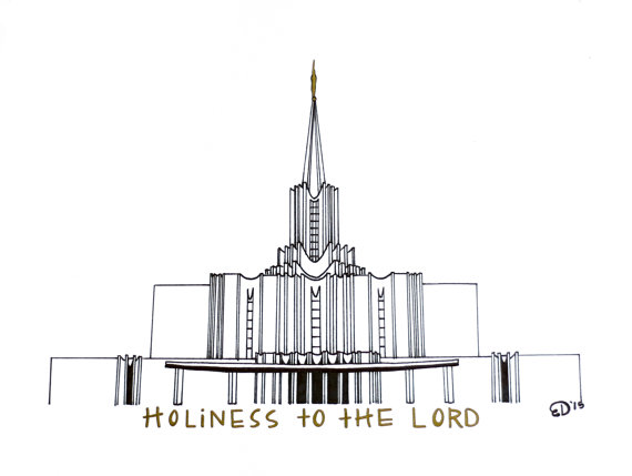 Jordan river temple clipart picture freeuse Items similar to Jordan River LDS Temple Drawing on Etsy picture freeuse
