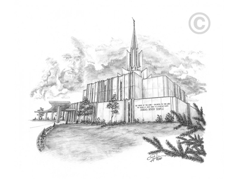 Jordan river temple clipart free download Jordan River Utah Temple Drawing - Chad Hawkins Art free download