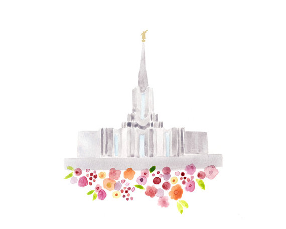 Jordan river temple clipart jpg transparent library LDS Jordan River Temple Print Giclee Watercolor gold jpg transparent library