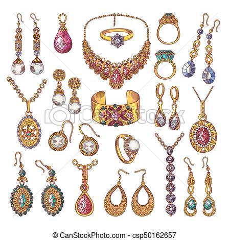 Joyas clipart image free coloreado, vendimia, mano, lujo, cuadros, dibujado, joyas image free