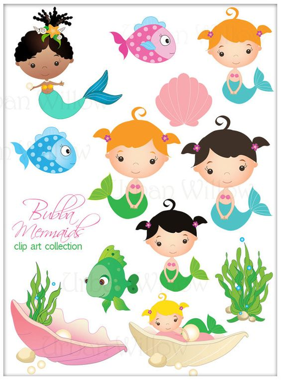 Jpeg clip art images graphic transparent library BUBBA MERMAIDS - Clip art set in premium quality 300 dpi, Png and ... graphic transparent library