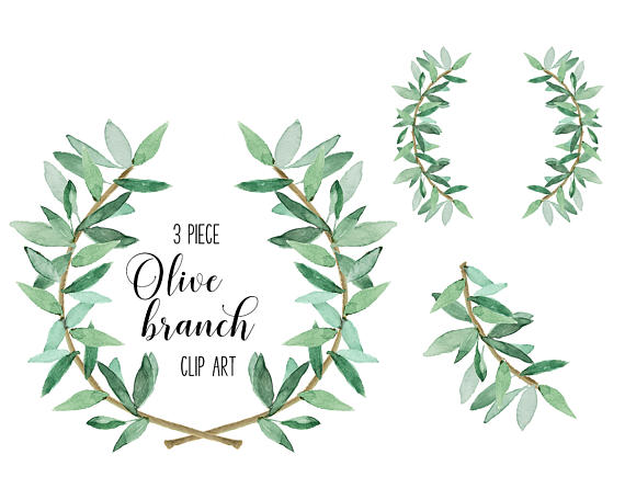 Watercolor greenery clipart banner library Watercolor Laurel greenery and coordinating branch set for wedding ... banner library