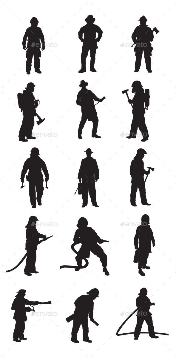 Jpeg clipart silhouette of emergency service patients vector black and white stock Fireman / Firefighters silhouettes. In this files include AI and EPS ... vector black and white stock