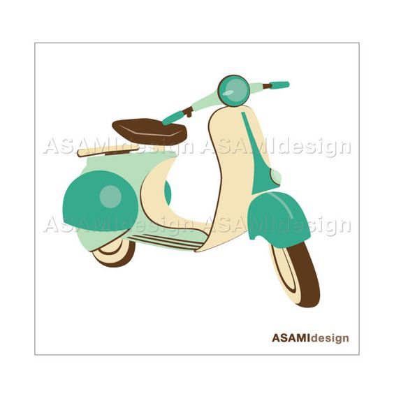 Jpeg to clipart image stock Classic Scooter Clipart, Green, Vespa : Digital Clip Art PNG ... image stock
