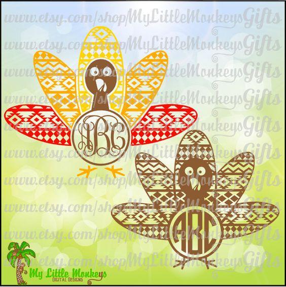 Jpeg turkey clipart banner royalty free Aztec Turkey Multicolor Monogram Base Digital Clipart Instant ... banner royalty free