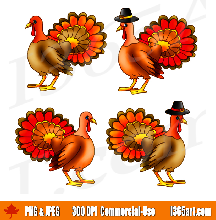 Jpeg turkey clipart png royalty free stock Thanksgiving Turkey Clipart Set, Live Turkey Graphics | I 365 Art png royalty free stock