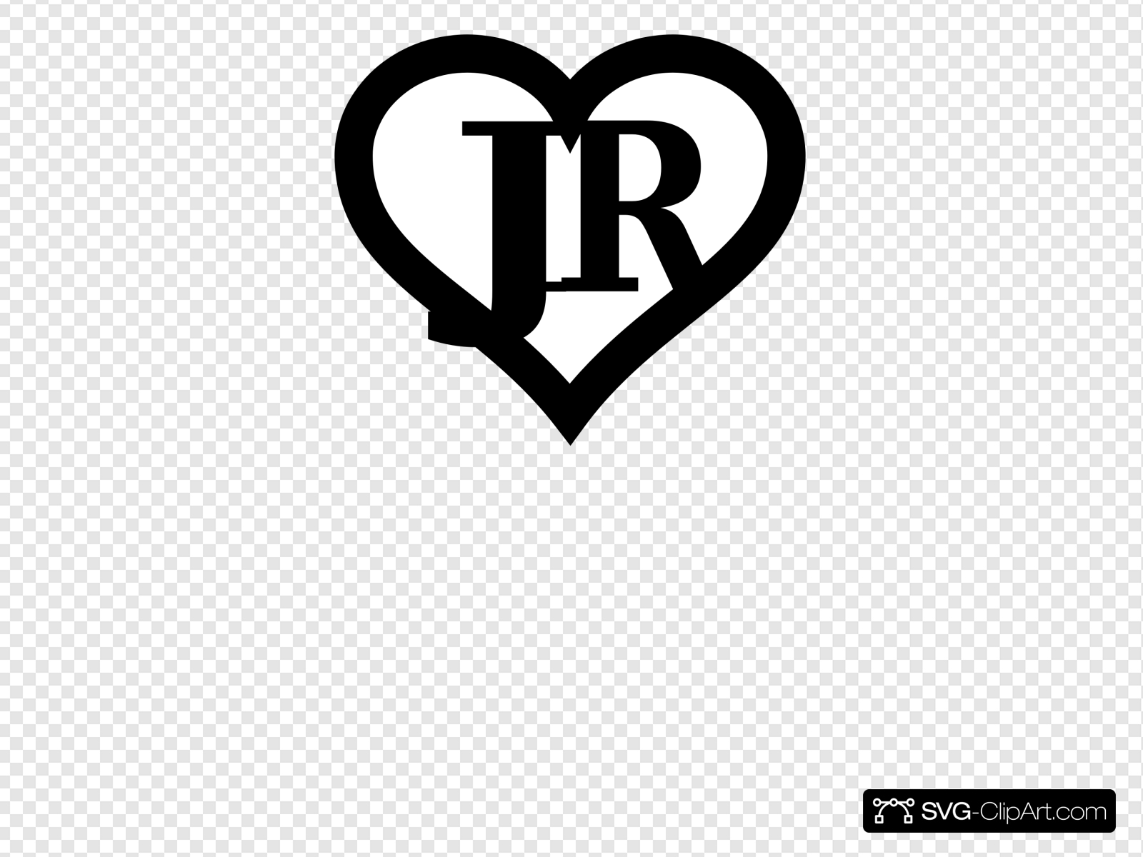 Jr clipart graphic Heart Outline Initials Jr Clip art, Icon and SVG - SVG Clipart graphic