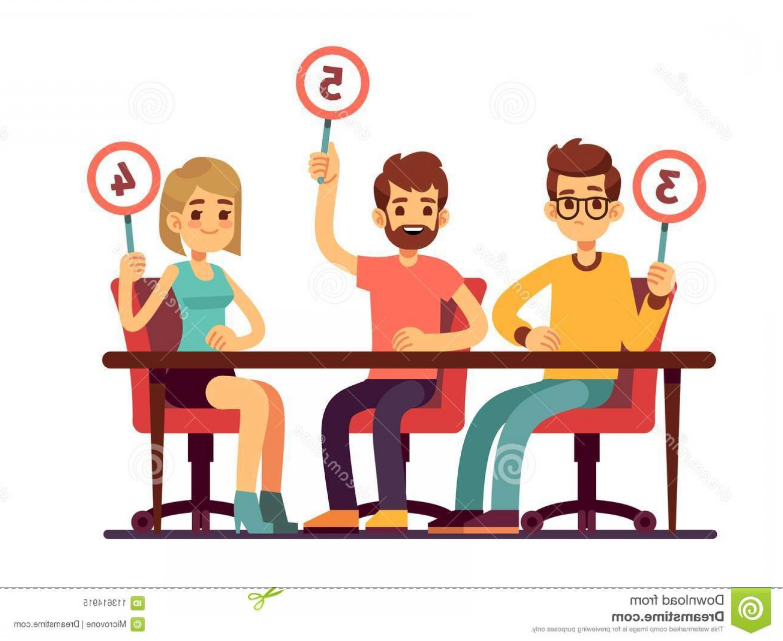 Judging clipart graphic free library Jury Judges Holding Scorecards Quiz People Show Competition Vector ... graphic free library