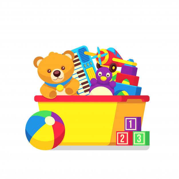 Juguetes clipart png black and white library Niños juguetes en caja de niños vector clipart | Descargar Vectores ... png black and white library