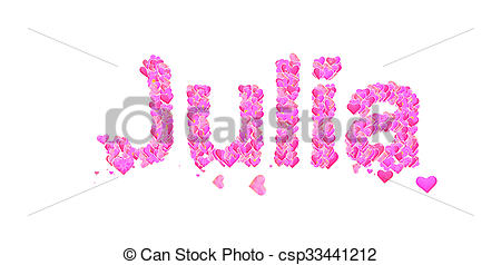 Julia clipart banner transparent stock Clipart of Julia female name with hearts - Name set with hearts ... banner transparent stock