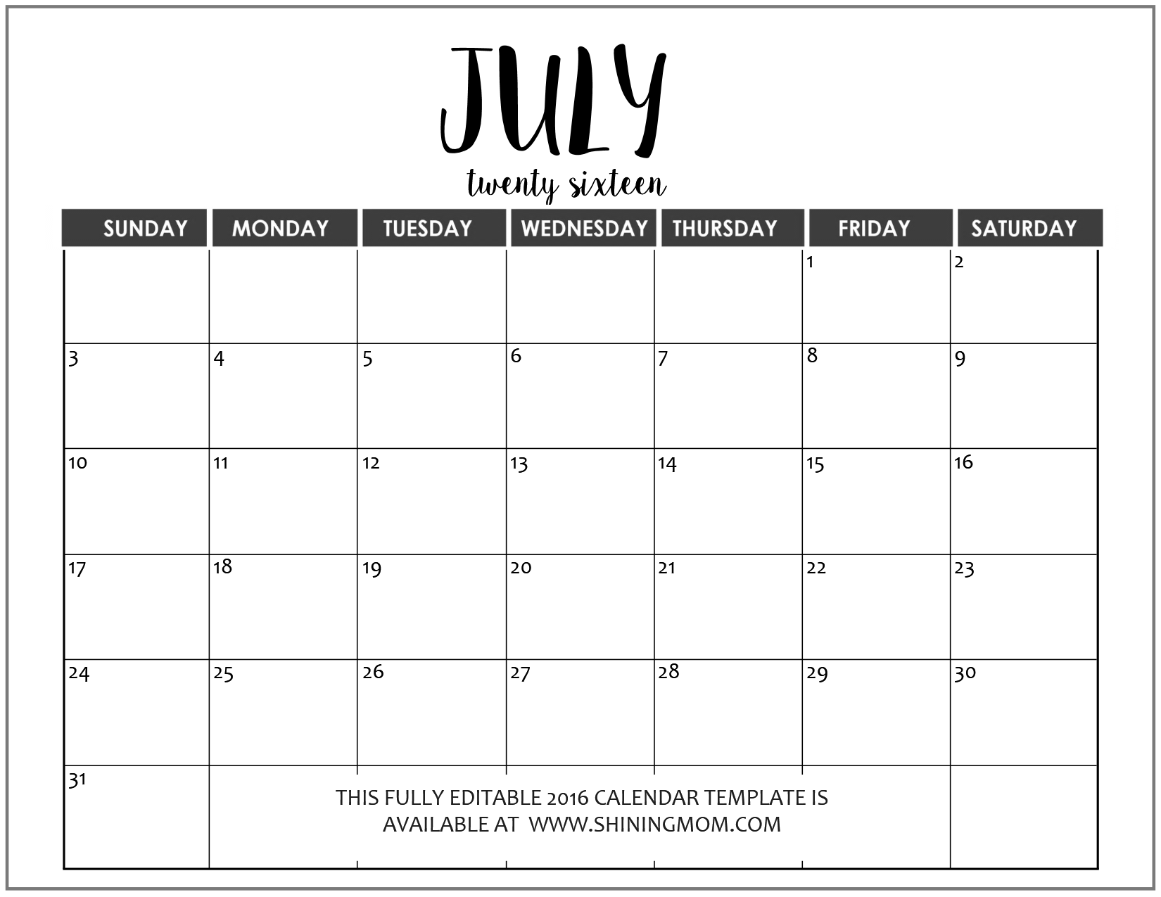 July 2016 calendar clipart free download July 2016 calendar planner free download