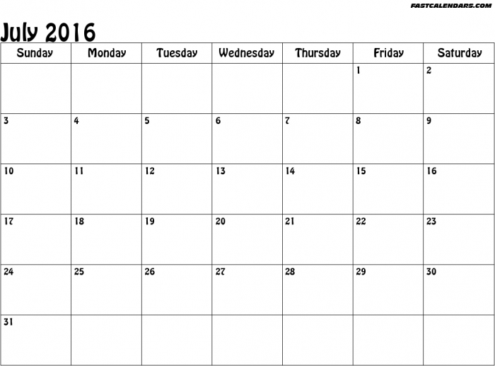 July 2016 calendar clipart graphic royalty free download Calendars July 2016 Printable Clip Art * Calendar Printable Template graphic royalty free download