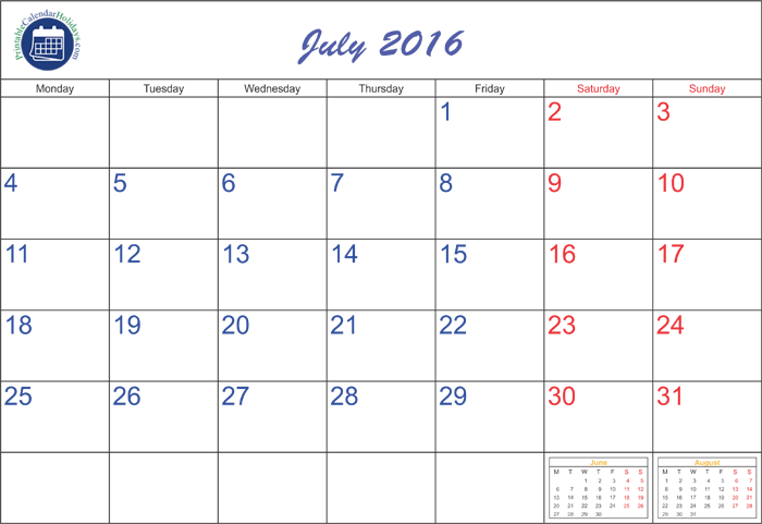 July 2016 calendar clipart clipart free library July Blank Calendar Template 2016 clipart free library
