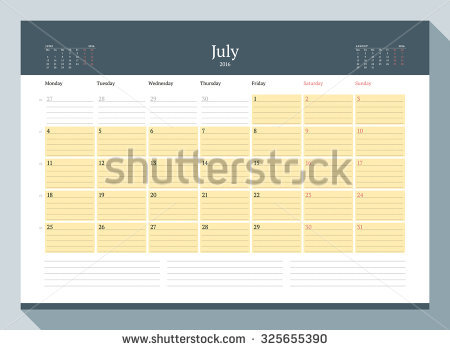 July 2016 calendar sporty clipart transparent stock January 2016 Monthly Calendar Planner 2016 Stock Vector 325655423 ... transparent stock