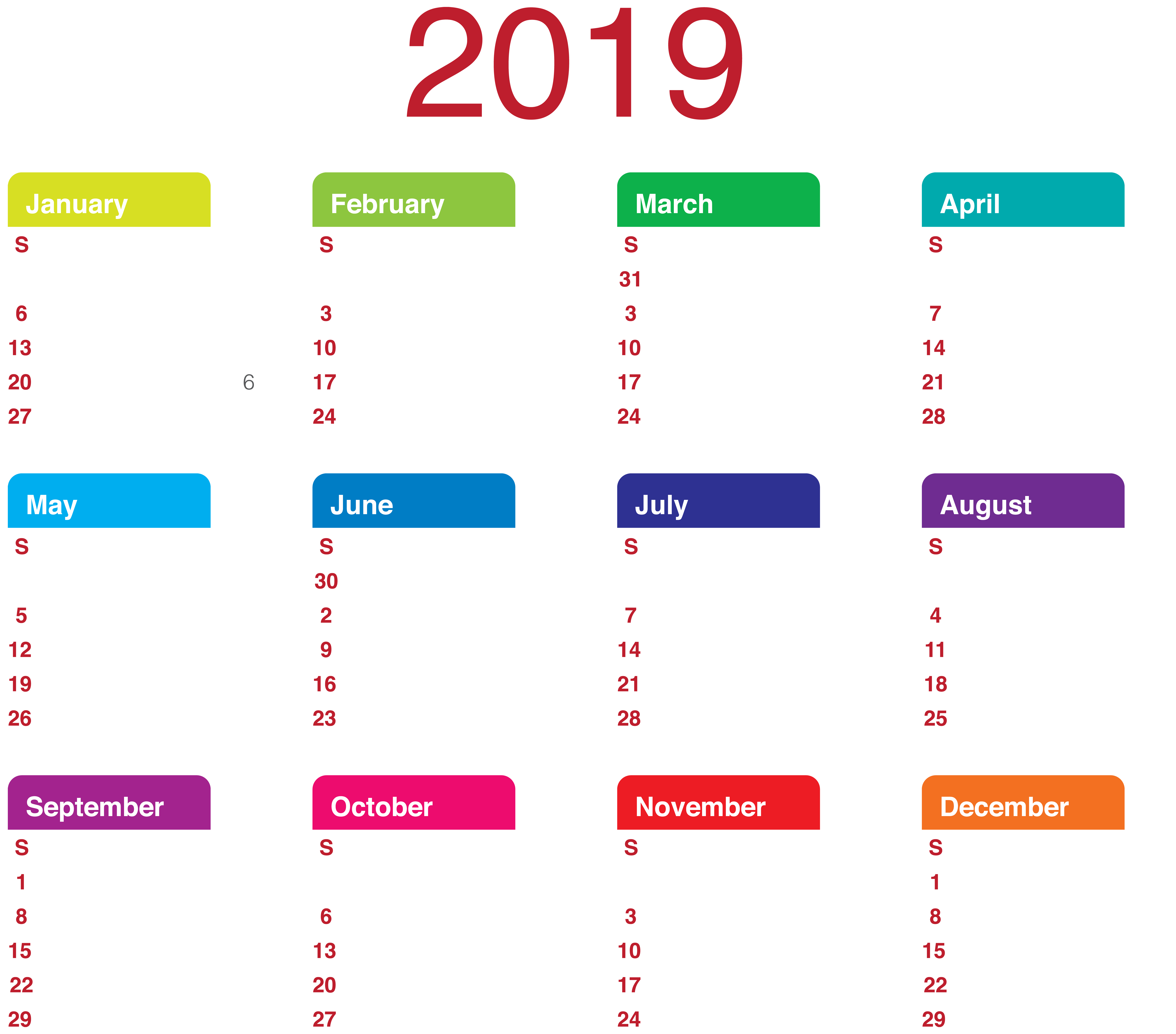 June calendar page clipart picture black and white 2019 Calendar Transparent PNG Clip Art | Gallery Yopriceville ... picture black and white