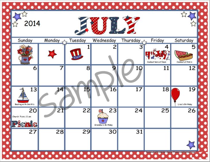 July calendar clip art vector freeuse July Calendar Clipart - Clipart Kid vector freeuse