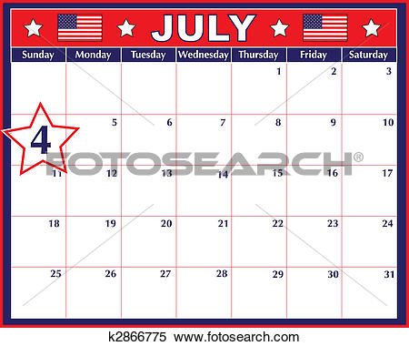 July calendar clip art vector library download Stock Illustration of Fourth of July Calendar k2866775 - Search ... vector library download