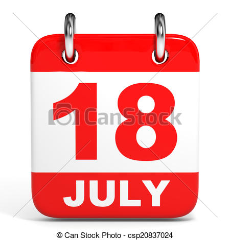 July calendar clipart png freeuse library Clip Art of Calendar. 18 July. - Calendar on white background. 18 ... png freeuse library