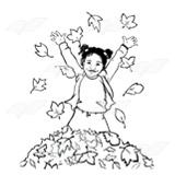 Jump in the leaves clipart black and white banner library download Girl Jumping in Leaves, with leaves falling banner library download