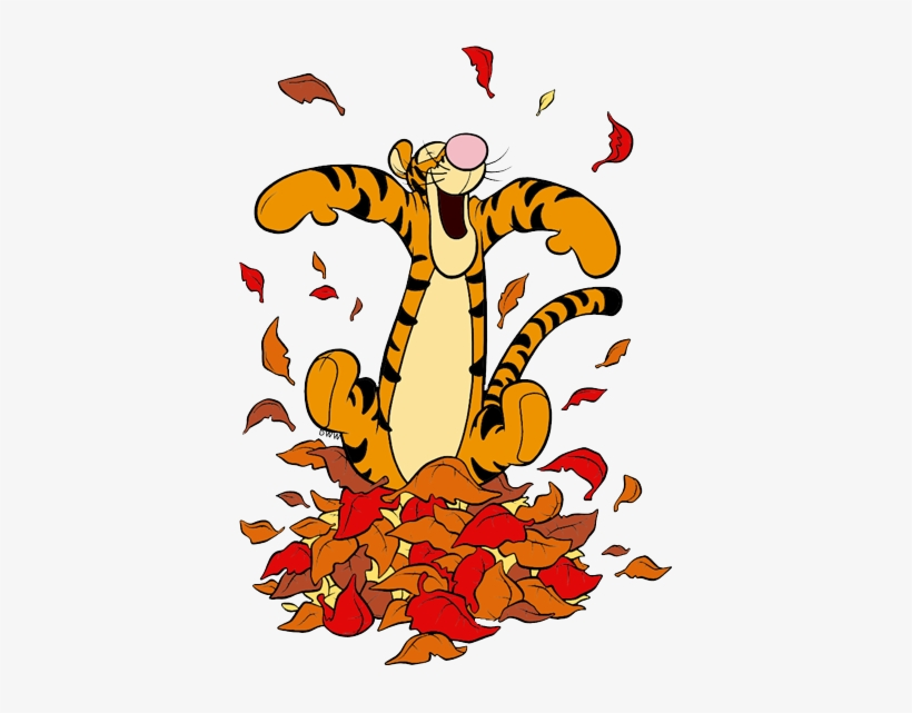 Jump in the leaves clipart black and white image download Tigger Jumping In Fall Leaves - Jumping In Leaves Clipart ... image download