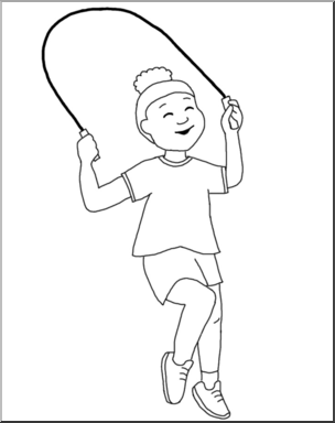 Jump rope clipart black and white banner black and white library Clip Art: Kids: Girl Jumping Rope B&W I abcteach.com | abcteach banner black and white library