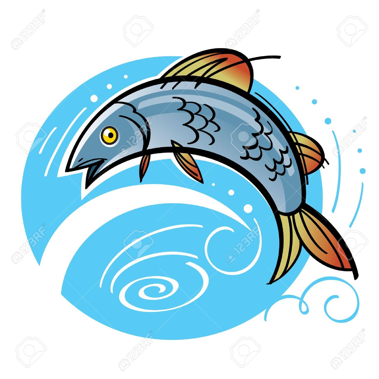 Jumping salmon clipart banner download Fish Salmon Fishing Jumping Water River La #357448 ... banner download