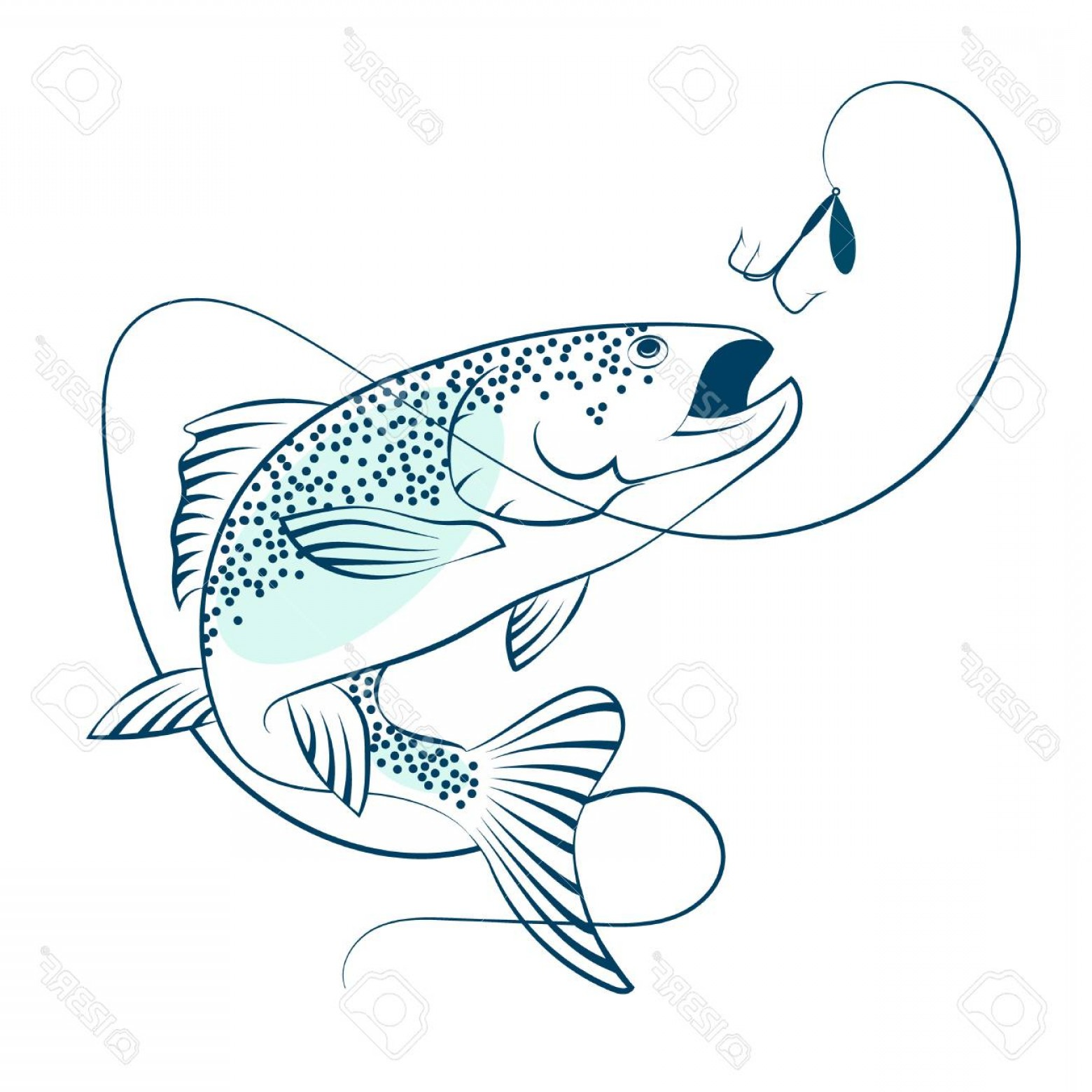 Jumping salmon clipart picture transparent library Salmon Jumping For Bait For Fishing Silhouette | SOIDERGI picture transparent library