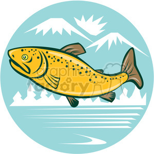 Jumping trout clipart graphic black and white library brown trout side JUMPING mountains lake CIRCLE clipart. Royalty-free  clipart # 394584 graphic black and white library