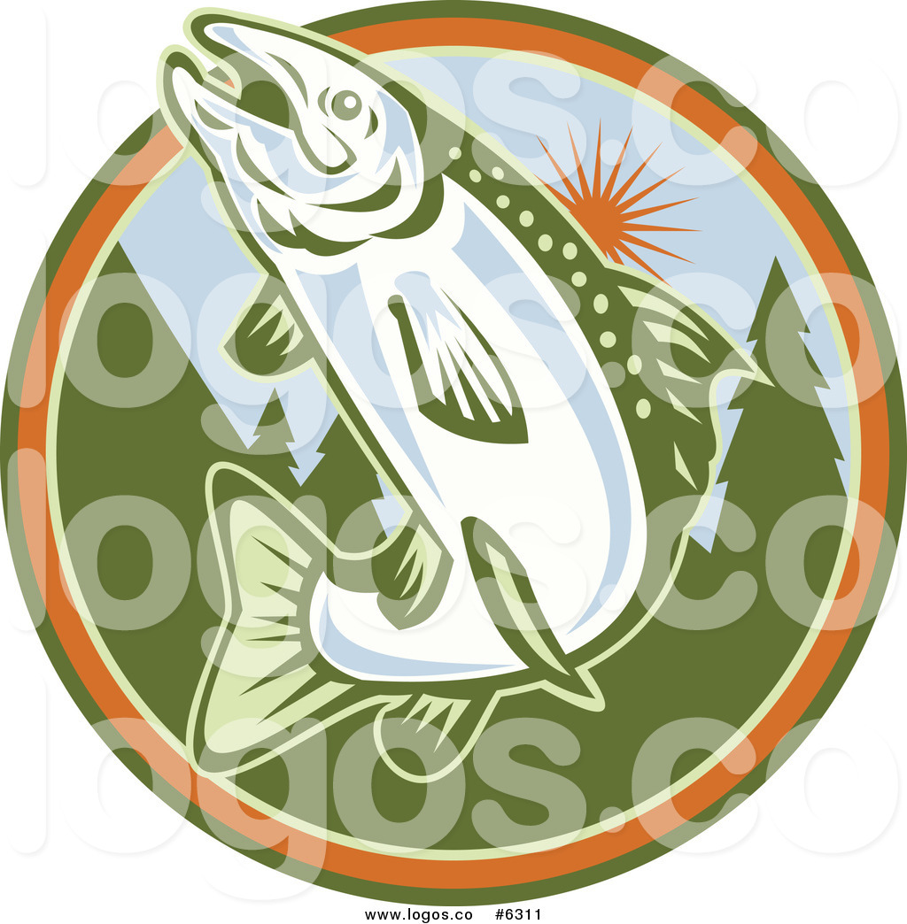 Jumping trout clipart png library stock Royalty Free Clip Art Vector Logo of a Jumping Trout Fish ... png library stock