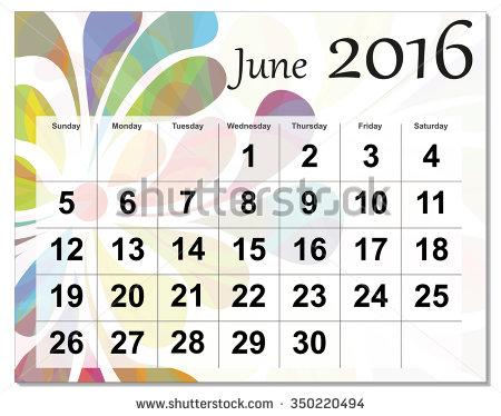 June 2016 calendar clipart graphic black and white library June 2016 calendar clipart - ClipartFox graphic black and white library