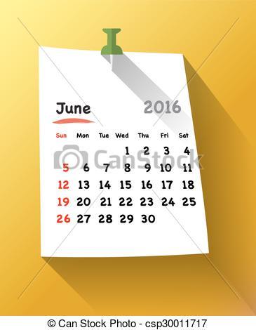 June 2016 calendar clipart image royalty free library Vector Clip Art of Calendar for june 2016 on orange sticky note ... image royalty free library