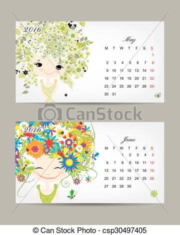 June calendar 2016 clipart graphic transparent stock Vector Clipart of Calendar 2016, may and june months. Season girls ... graphic transparent stock