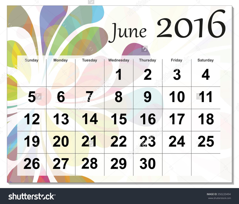 June calendar 2016 clipart image transparent June 2016 Calendar. Stock Photo 350220494 : Shutterstock image transparent