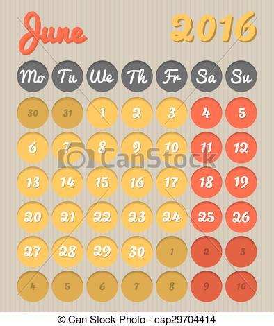 June calendar 2016 clipart clip art free stock Vector Clip Art of Month planning calendar - June 2016 - Modern ... clip art free stock